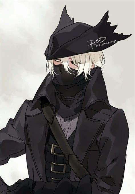 Anime Boy Black Outfit Hat Mask White Hair Cloak