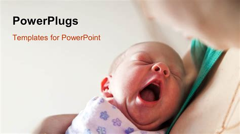 powerpoint template yawning newborn baby held  mothers