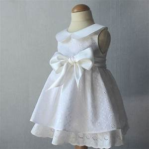 christening dress eyelet baby girl baptism gown white With robes bapteme