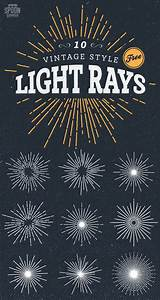 10 Free Vintage Style Illustrated Light Ray Vectors ...