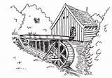 Coloring Watermolen Mill Watermill Plaatjes Drawing Water Moulin Agua Molino Gifs Meek Dibujos Sketch Animaatjes Graphics Bild Animatie Clip Plaatje sketch template