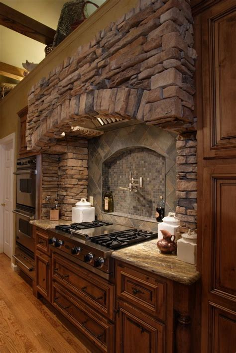 Image result for kitchen stove stone surround   Decor