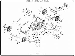 Homelite P1100 18 Volt Lawn Mower Mfg  No  107178001 Parts