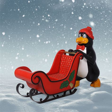 heinimex outdoor christmas penguin with sleigh 39 inch