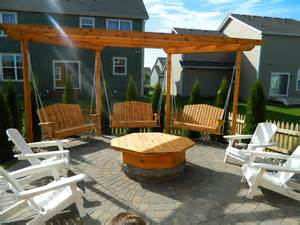 Bench Swing Fire Pit by Apple Valley Fire Pit With Pergola Swings Devine Design