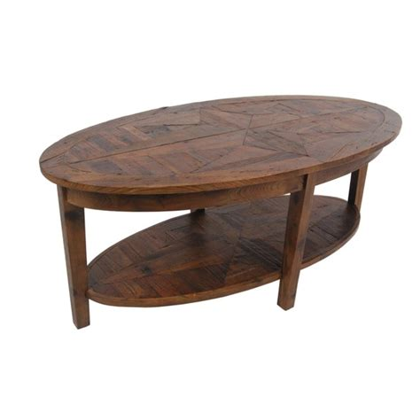 alaterre heritage reclaimed wood oval coffee table