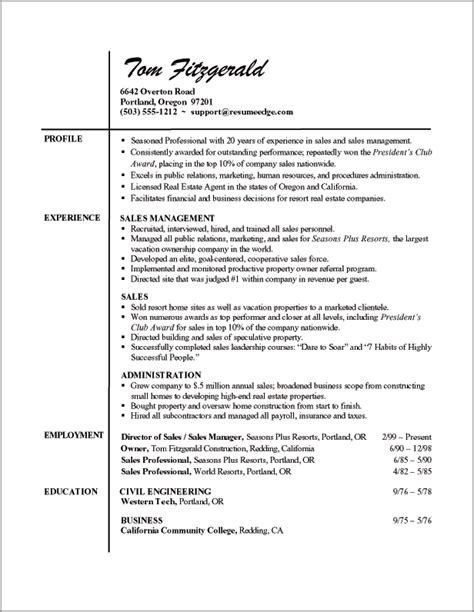 professional experience sales resume exles of professional resumes writing resume sle