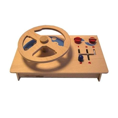 children s wooden steering wheel with gear change and