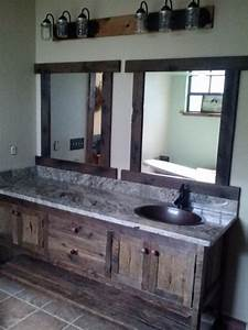 your custom made rustic barn wood double vanity with 4 With barn style vanity lights
