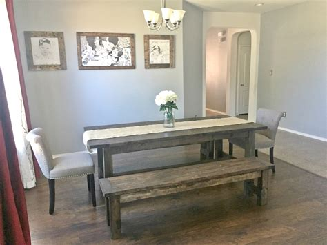 farmhouse dining room table  benches ana white