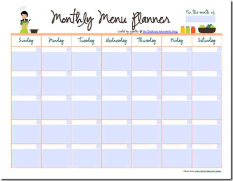 editable monthly menu planner