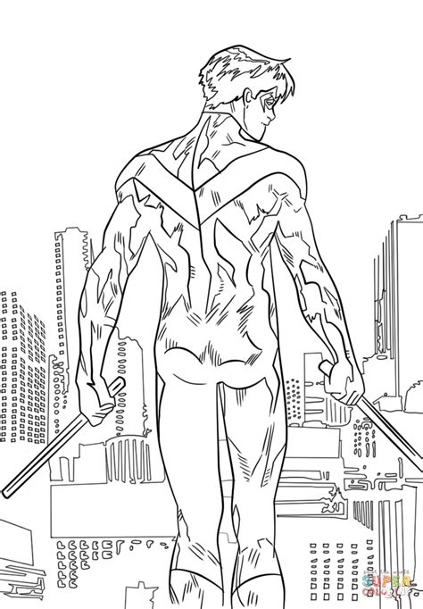 nightwing coloring page  printable coloring pages