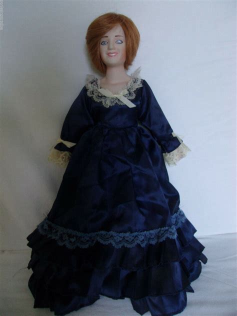 princess diana  wales porcelain stuff doll  blue gown