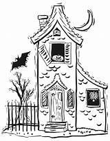 Coloring Haunted Pages Printable Halloween Decorations Preschoolers sketch template