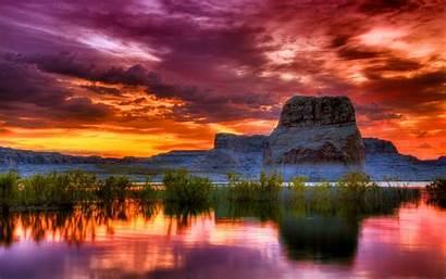 Scenery Sunset Amazing Powell Utah Arizona Soleil