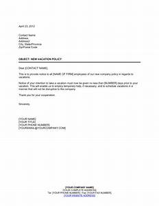Staff Policy Template Notice To Employees Of New Vacation Policy Template Sample Form