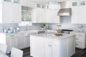 Blue Kitchen Tile Backsplash White Kitchen With Blue Mosaic Tile Backsplash Contemporary Kitchen