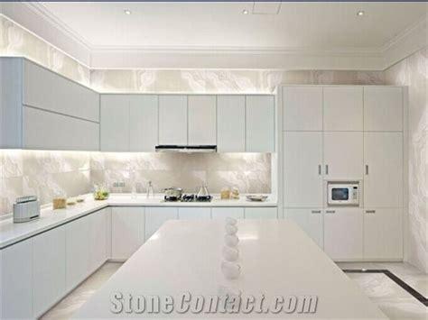 kitchen countertops  crystallized glass stone white