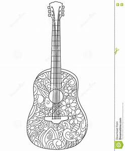 Musical Instrument Guitar Coloring Book Vector For Adults Stock Vector Image 80670397