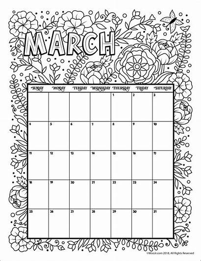Calendar Coloring March Printable Pages 2021 Blank
