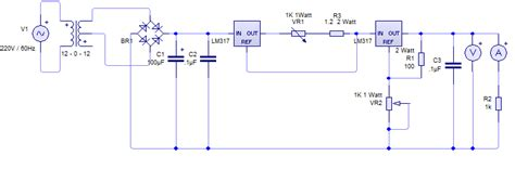 two lm317 based voltage and constant current regulator circuit electrical engineering stack
