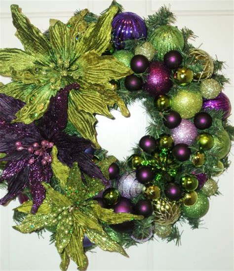 purple christmas memories lime green purple poinsettia