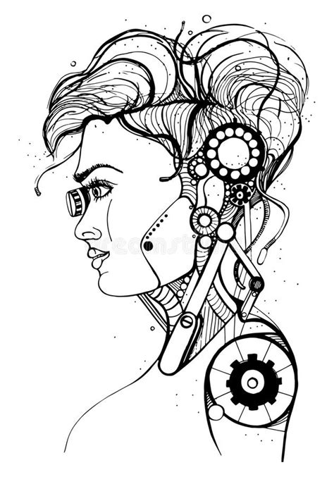 Beautiful cyborg girl stock illustration. Illustration of