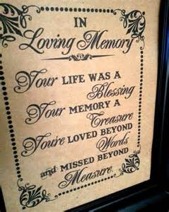 Sign for a Wedding in Memory of Loved Ones