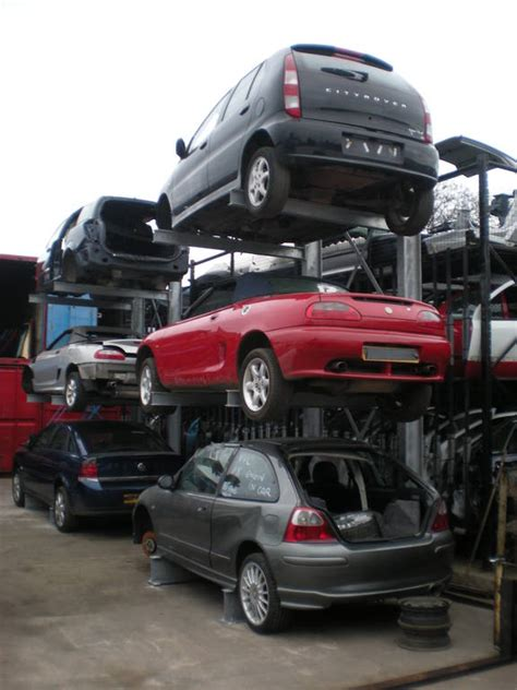 Cantilever Car by Car Storage Rack Used For Cars At Viking Auto Dismantlers