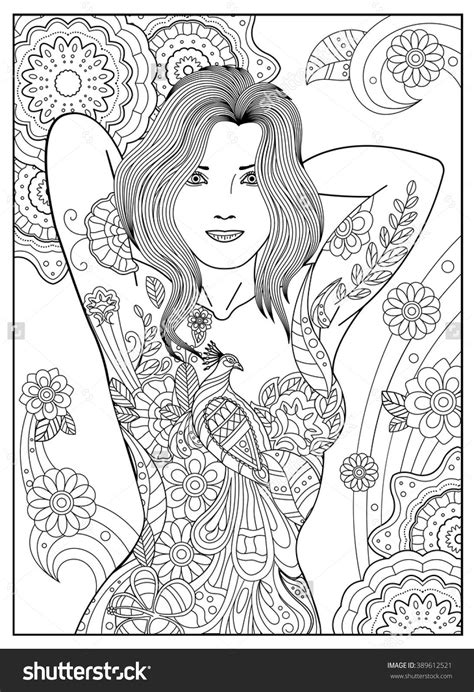 Coloring Anti-Stress For Grown. Black And White Contour Image For Printing. The Girl In The