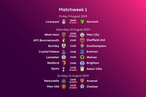 Premier League Fixtures and Schedule for 2019/2020 ...