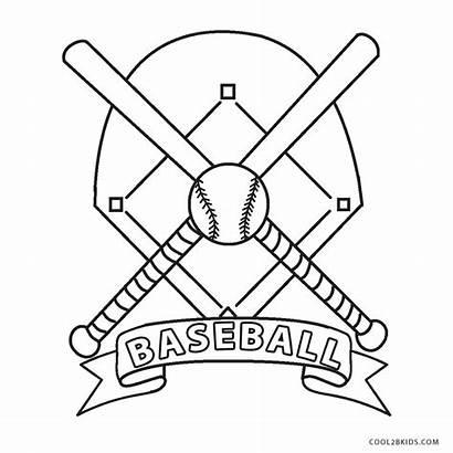 Baseball Coloring Printable Sheets Bat Diamond Mlb