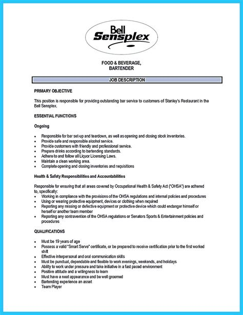 outstanding details you must put in your awesome bartending resume