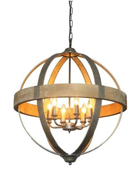 round ball shaped metal and wood chandelier w pendant light in middle 6 bulbs the kings bay