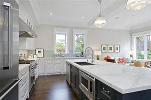 Amazing two tone kitchen with soft gray walls paint color for Kitchen colors with white cabinets with charcoal wall art