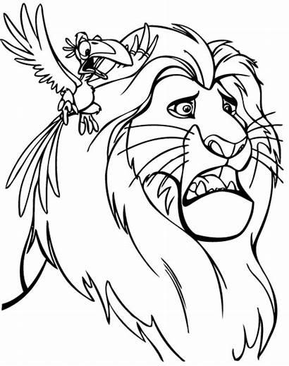 Mufasa Zazu Coloring Lion King Cartoon Printable