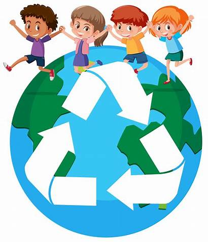 Recycling Children Around Concept Clipart Sign Vector