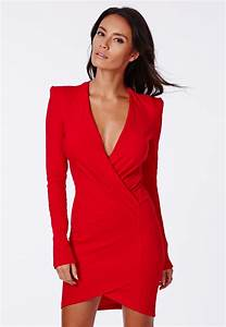 amaline cross over tailored dress dresses missguided With robe portefeuille rouge