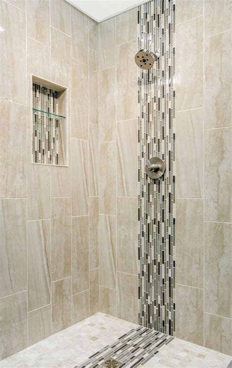 cappuccino colored marble focal point bathroom shower tile