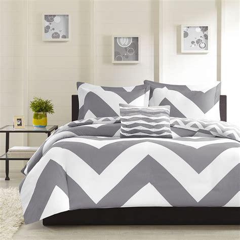 modern reversible grey chevron stripe comforter set