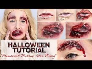 Halloween Makeup - Permanent Makeup Gone Wrong - YouTube