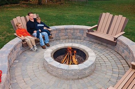 pit fire outdoor patio seating firepit brick stone diy wall backyard around patios chairs seats pits built circular circle ground