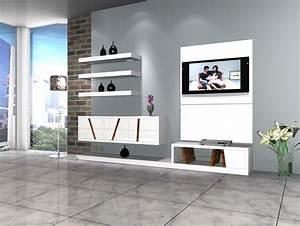 TV Stand Fantastic TV Unit Design White Floating Shelves