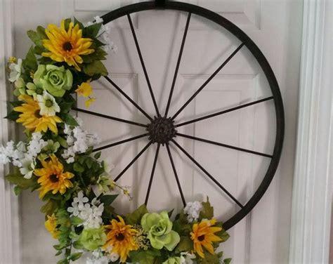 bicycle wheel door wreath wreaths wheel decor summer