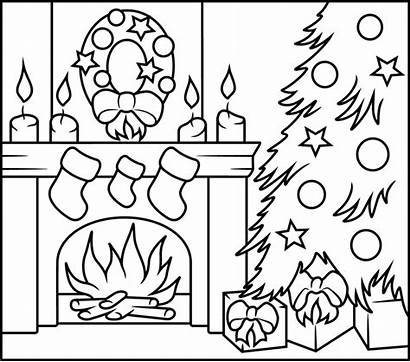 Fireplace Coloring Christmas Pages Number Printable Numbers