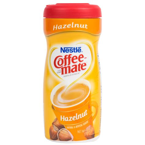 Enjoy a sweeter, richer, and smoother taste in your coffee! Nestle Coffee-Mate Hazelnut Coffee Creamer Shaker - 15 oz.