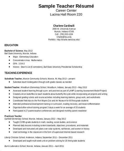 Resume For Teaching Fresher by Resume Sle 28 Free Word Pdf Documents