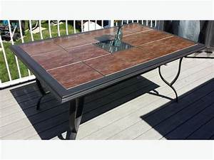 Patio table 65quot x 42quot ceramic tile top south regina regina for Ceramic tile top patio table