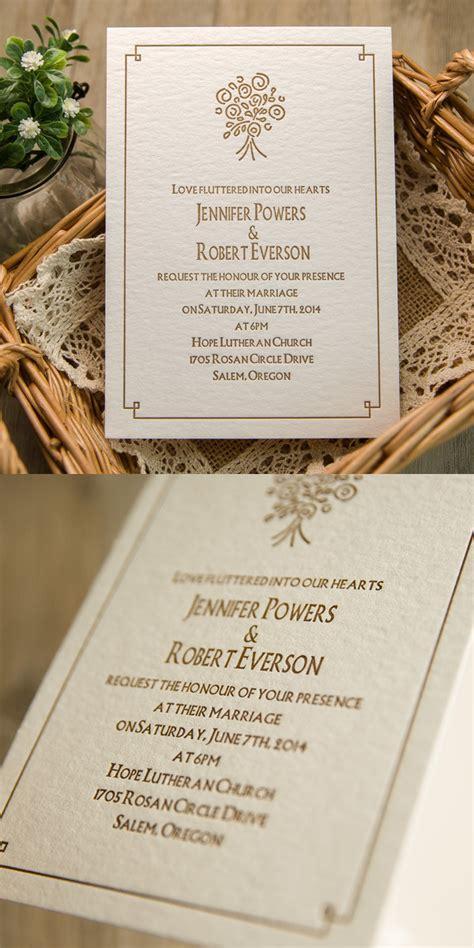 Four Elegant Letterpress Wedding Invitations With