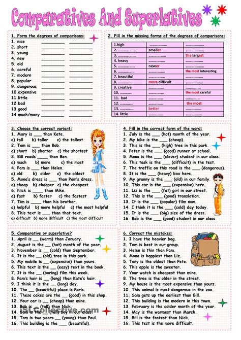 comparatives and superlatives esl freebies